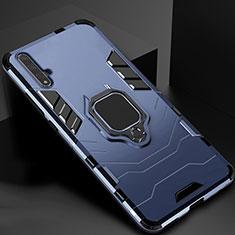 Huawei Nova 5T用ハイブリットバンパーケース スタンド プラスチック 兼シリコーン カバー マグネット式 ファーウェイ ネイビー