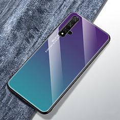 Huawei Nova 5T用ハイブリットバンパーケース プラスチック 鏡面 虹 グラデーション 勾配色 カバー ファーウェイ マルチカラー