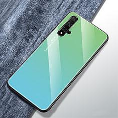 Huawei Nova 5T用ハイブリットバンパーケース プラスチック 鏡面 虹 グラデーション 勾配色 カバー ファーウェイ グリーン