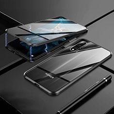 Huawei Nova 5T用ケース 高級感 手触り良い アルミメタル 製の金属製 360度 フルカバーバンパー 鏡面 カバー M01 ファーウェイ ブラック