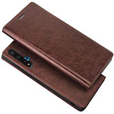 Huawei Nova 5T用手帳型 レザーケース スタンド カバー T18 ファーウェイ ブラウン