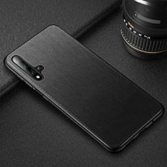 Huawei Nova 5T用ケース 高級感 手触り良いレザー柄 R05 ファーウェイ ブラック
