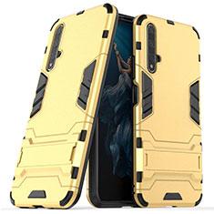 Huawei Nova 5T用ハイブリットバンパーケース スタンド プラスチック 兼シリコーン カバー R03 ファーウェイ ゴールド
