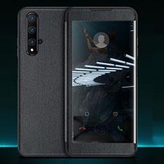 Huawei Nova 5T用手帳型 レザーケース スタンド カバー T05 ファーウェイ ブラック