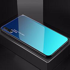 Huawei Nova 5T用ハイブリットバンパーケース プラスチック 鏡面 虹 グラデーション 勾配色 カバー H01 ファーウェイ ネイビー