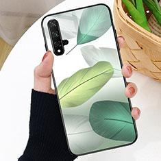Huawei Nova 5T用ハイブリットバンパーケース プラスチック パターン 鏡面 カバー D01 ファーウェイ グリーン