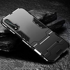 Huawei Nova 6 5G用ハイブリットバンパーケース スタンド プラスチック 兼シリコーン カバー ファーウェイ ブラック