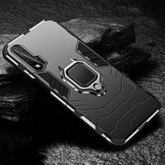 Huawei Nova 6 5G用ハイブリットバンパーケース プラスチック アンド指輪 マグネット式 ファーウェイ ブラック