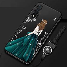 Huawei Nova 6 5G用シリコンケース ソフトタッチラバー バタフライ ドレスガール ドレス少女 カバー ファーウェイ ブラック