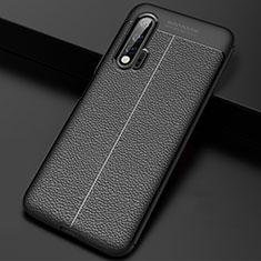 Huawei Nova 6 5G用シリコンケース ソフトタッチラバー レザー柄 カバー S01 ファーウェイ ブラック