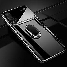 Huawei Nova 6 5G用ハードケース プラスチック 質感もマット アンド指輪 マグネット式 A01 ファーウェイ ブラック