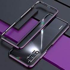 Huawei Nova 6 5G用ケース 高級感 手触り良い アルミメタル 製の金属製 バンパー カバー ファーウェイ パープル