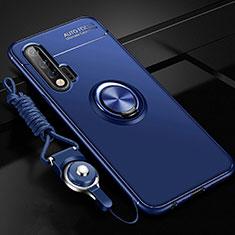 Huawei Nova 6 5G用極薄ソフトケース シリコンケース 耐衝撃 全面保護 アンド指輪 マグネット式 バンパー ファーウェイ ネイビー