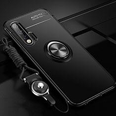 Huawei Nova 6 5G用極薄ソフトケース シリコンケース 耐衝撃 全面保護 アンド指輪 マグネット式 バンパー ファーウェイ ブラック