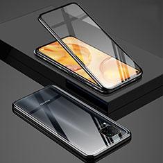 Huawei Nova 6 SE用ケース 高級感 手触り良い アルミメタル 製の金属製 360度 フルカバーバンパー 鏡面 カバー T03 ファーウェイ ブラック