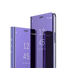 Huawei Nova 6 SE用手帳型 レザーケース スタンド 鏡面 カバー M02 ファーウェイ パープル