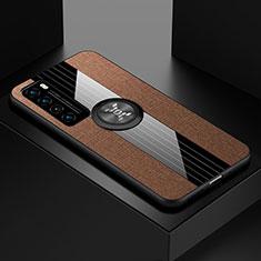 Huawei Nova 7 5G用極薄ソフトケース シリコンケース 耐衝撃 全面保護 アンド指輪 マグネット式 バンパー ファーウェイ ブラウン