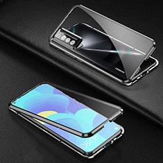 Huawei Nova 7 5G用ケース 高級感 手触り良い アルミメタル 製の金属製 360度 フルカバーバンパー 鏡面 カバー ファーウェイ ブラック