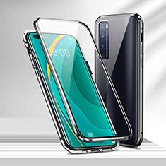 Huawei Nova 7 Pro 5G用ケース 高級感 手触り良い アルミメタル 製の金属製 360度 フルカバーバンパー 鏡面 カバー M02 ファーウェイ ブラック