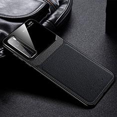 Huawei Nova 7 Pro 5G用シリコンケース ソフトタッチラバー レザー柄 カバー S01 ファーウェイ ブラック