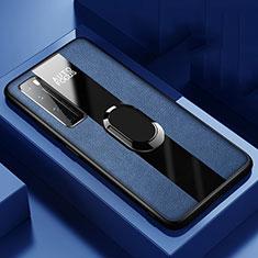 Huawei Nova 7 Pro 5G用シリコンケース ソフトタッチラバー レザー柄 アンド指輪 マグネット式 S01 ファーウェイ ネイビー