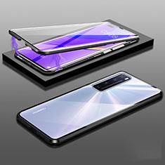 Huawei Nova 7 Pro 5G用ケース 高級感 手触り良い アルミメタル 製の金属製 360度 フルカバーバンパー 鏡面 カバー M03 ファーウェイ ブラック