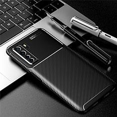 Huawei Nova 7 SE 5G用シリコンケース ソフトタッチラバー ツイル カバー ファーウェイ ブラック