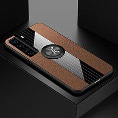 Huawei Nova 7 SE 5G用極薄ソフトケース シリコンケース 耐衝撃 全面保護 アンド指輪 マグネット式 バンパー ファーウェイ ブラウン