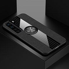 Huawei Nova 7 SE 5G用極薄ソフトケース シリコンケース 耐衝撃 全面保護 アンド指輪 マグネット式 バンパー ファーウェイ ブラック