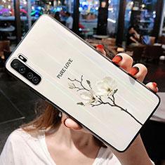 Huawei Nova 7 SE 5G用ハイブリットバンパーケース プラスチック 鏡面 花 カバー ファーウェイ ホワイト