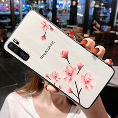 Huawei Nova 7 SE 5G用ハイブリットバンパーケース プラスチック 鏡面 花 カバー ファーウェイ ピンク