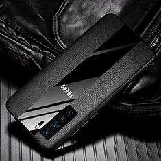 Huawei Nova 7 SE 5G用シリコンケース ソフトタッチラバー レザー柄 カバー ファーウェイ ブラック