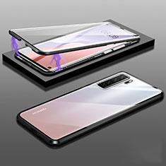 Huawei Nova 7 SE 5G用ケース 高級感 手触り良い アルミメタル 製の金属製 360度 フルカバーバンパー 鏡面 カバー M02 ファーウェイ ブラック