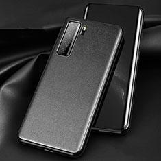 Huawei Nova 7 SE 5G用ケース 高級感 手触り良いレザー柄 ファーウェイ ブラック