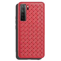 Huawei Nova 7 SE 5G用シリコンケース ソフトタッチラバー レザー柄 カバー S02 ファーウェイ レッド