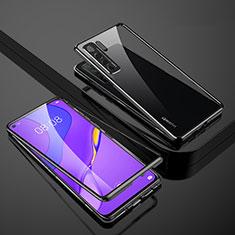 Huawei Nova 7 SE 5G用ケース 高級感 手触り良い アルミメタル 製の金属製 360度 フルカバーバンパー 鏡面 カバー M01 ファーウェイ ブラック