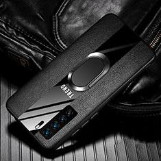Huawei Nova 7 SE 5G用シリコンケース ソフトタッチラバー レザー柄 アンド指輪 マグネット式 ファーウェイ ブラック