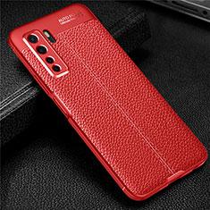 Huawei Nova 7 SE 5G用シリコンケース ソフトタッチラバー レザー柄 カバー S04 ファーウェイ レッド