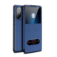 Huawei Nova 8 5G用手帳型 レザーケース スタンド カバー ファーウェイ ネイビー
