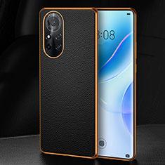 Huawei Nova 8 5G用ケース 高級感 手触り良いレザー柄 S07 ファーウェイ ブラック