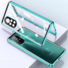 Huawei Nova 8 5G用ケース 高級感 手触り良い アルミメタル 製の金属製 360度 フルカバーバンパー 鏡面 カバー M01 ファーウェイ シアン