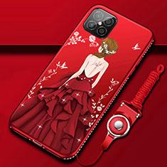 Huawei Nova 8 SE 5G用シリコンケース ソフトタッチラバー バタフライ ドレスガール ドレス少女 カバー ファーウェイ レッド