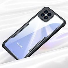 Huawei Nova 8 SE 5G用ハイブリットバンパーケース クリア透明 プラスチック 鏡面 カバー ファーウェイ ブラック
