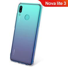 Huawei Nova Lite 3用極薄ソフトケース シリコンケース 耐衝撃 全面保護 クリア透明 カバー ファーウェイ クリア