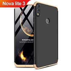 Huawei Nova Lite 3用ハードケース プラスチック 質感もマット 前面と背面 360度 フルカバー Q01 ファーウェイ ゴールド・ブラック