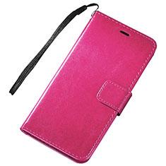 Huawei Nova Lite 3用手帳型 レザーケース スタンド カバー ファーウェイ ローズレッド