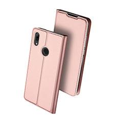 Huawei Nova Lite 3用手帳型 レザーケース スタンド カバー L01 ファーウェイ ローズゴールド
