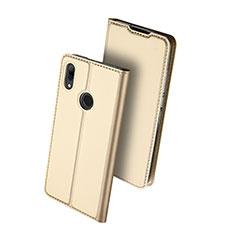 Huawei Nova Lite 3用手帳型 レザーケース スタンド カバー L01 ファーウェイ ゴールド