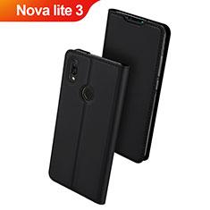 Huawei Nova Lite 3用手帳型 レザーケース スタンド カバー L01 ファーウェイ ブラック