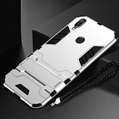 Huawei Nova Lite 3用ハイブリットバンパーケース スタンド プラスチック 兼シリコーン カバー ファーウェイ シルバー